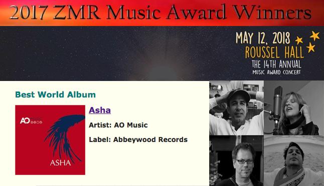 """Asha"" Wins the 2017 Zone Music Reporter Award for ""Best World Music Album""!"